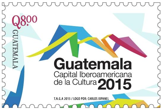 EL SELLO de Q8 con el lotogipo oficial de Guatemala Capital Iberoamericana de la Cultura 2015.